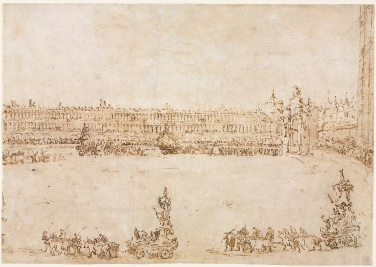 Order Oil Painting : A Procession of Triumphal Cars in the Piazza San Marco, Venice, Celebrating the Visit of the Conti del Nord by Francesco Lazzaro Guardi (1712-1793, Italy) | ArtsDot.com