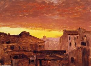 Frederic Edwin Church - Rooftops at Sunset, Rome, Italy