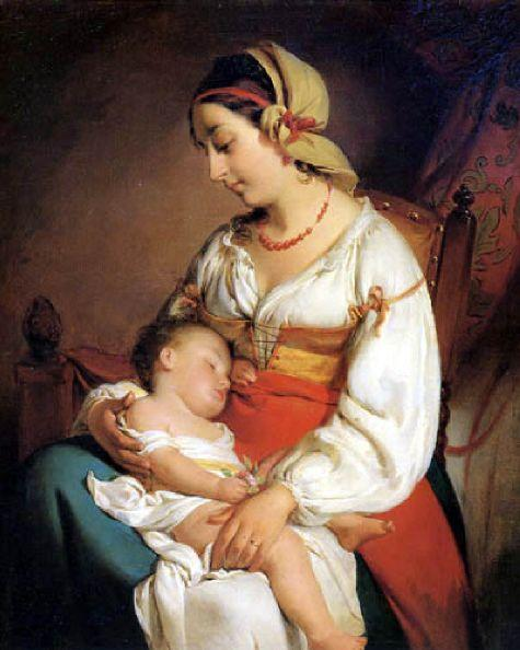 Mother Love, Oil On Panel by Friedrich Ritter Von Amerling (1803-1887)