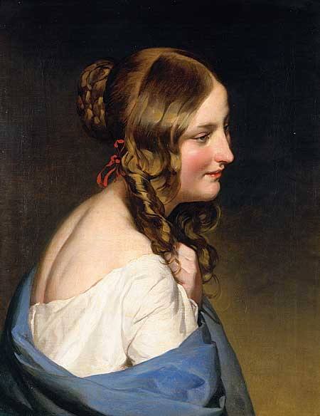 Portrait of a girl by Friedrich Ritter Von Amerling (1803-1887) | Museum Art Reproductions | ArtsDot.com