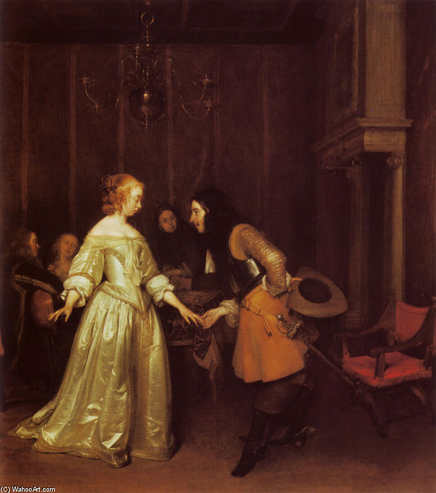 Order Art Reproduction : A Dancing Couple by Gerard Ter Borch The Younger (1617-1681, Netherlands) | ArtsDot.com