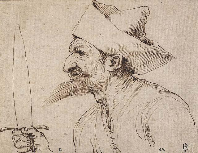 A Bearded Man Holding a Sword, Drawing by Guercino (Barbieri, Giovanni Francesco) (1591-1666, Italy)