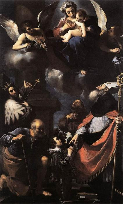 A Donor Presented to the Virgin, Oil by Guercino (Barbieri, Giovanni Francesco) (1591-1666, Italy)