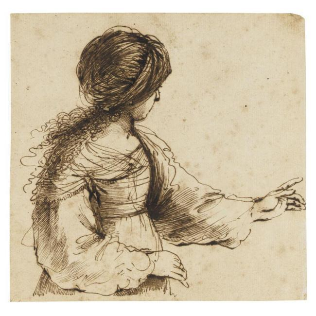 A FORTUNE TELLER, Drawing by Guercino (Barbieri, Giovanni Francesco) (1591-1666, Italy)