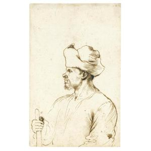 Guercino (Barbieri, Giovanni Francesco) - A man seen in profile, half length, wearing a hat and holding a stick