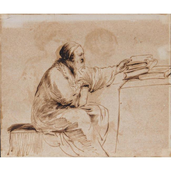 A SEATED MAN, PLACING BOOKS ON A TABLE, Drawing by Guercino (Barbieri, Giovanni Francesco) (1591-1666, Italy)