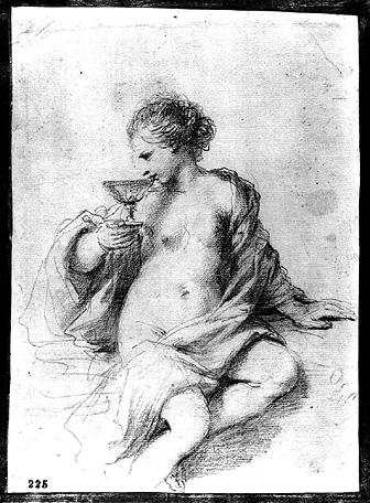 A Woman Drinking from a Cup, Drawing by Guercino (Barbieri, Giovanni Francesco) (1591-1666, Italy)