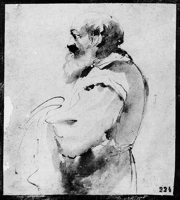 An Old Man, Drawing by Guercino (Barbieri, Giovanni Francesco) (1591-1666, Italy)