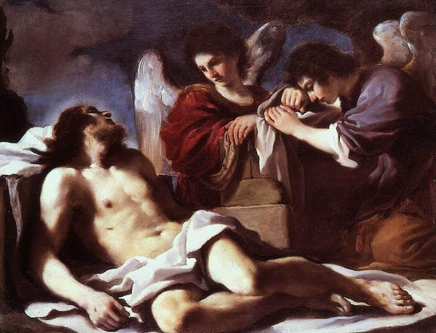Angels Weeping over the Dead Christ, Oil by Guercino (Barbieri, Giovanni Francesco) (1591-1666, Italy)