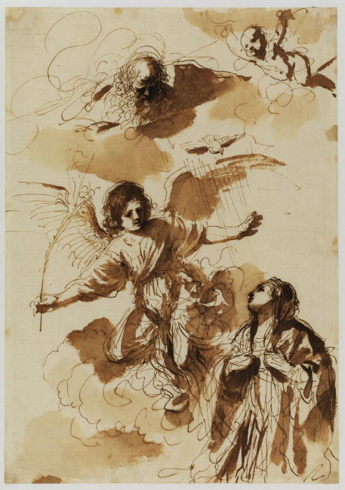 Annunciation, Drawing by Guercino (Barbieri, Giovanni Francesco) (1591-1666, Italy)