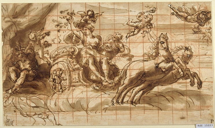 Aurora (study), Drawing by Guercino (Barbieri, Giovanni Francesco) (1591-1666, Italy)