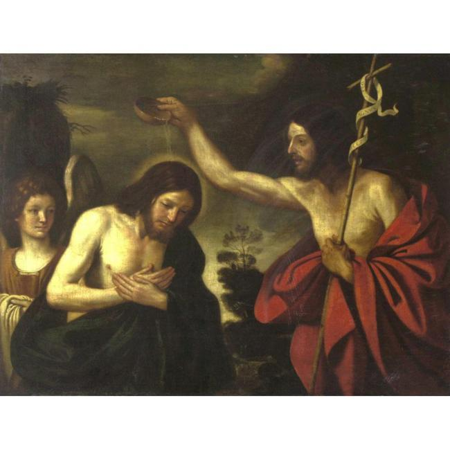 BAPTISM OF CHRIST, Oil by Guercino (Barbieri, Giovanni Francesco) (1591-1666, Italy)