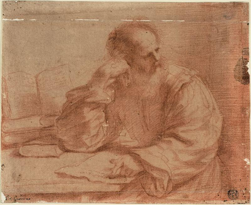 Bearded Man Seated at Table, Drawing by Guercino (Barbieri, Giovanni Francesco) (1591-1666, Italy)