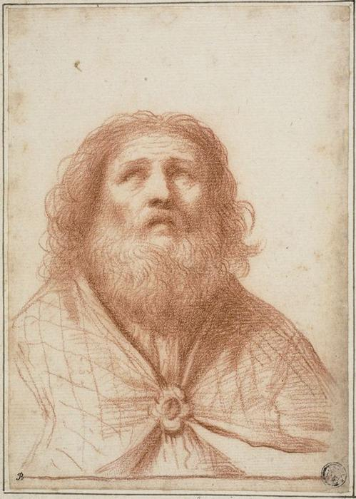 Bust of Saint or High Priest, Drawing by Guercino (Barbieri, Giovanni Francesco) (1591-1666, Italy)