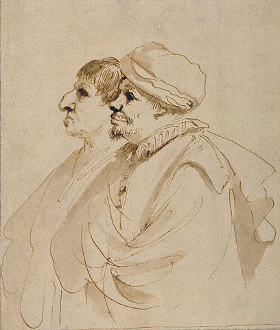 Caricature of Two Men Seen in Profile, Drawing by Guercino (Barbieri, Giovanni Francesco) (1591-1666, Italy)
