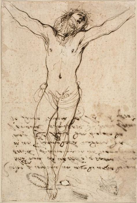 Christ on the Cross. Study for the Crucifixion with Saints, Drawing by Guercino (Barbieri, Giovanni Francesco) (1591-1666, Italy)