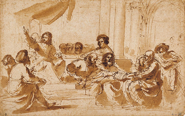 Christ Preaching in the Temple, Drawing by Guercino (Barbieri, Giovanni Francesco) (1591-1666, Italy)
