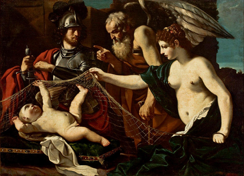 Chronos Admonishes Eros, in the presence of Aphrodite and Mars, Oil by Guercino (Barbieri, Giovanni Francesco) (1591-1666, Italy)
