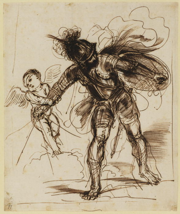 Cupid restraining Mars, Drawing by Guercino (Barbieri, Giovanni Francesco) (1591-1666, Italy)