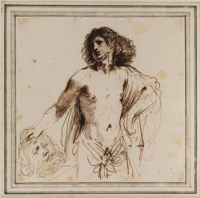 David with the head of Goliath 1, Drawing by Guercino (Barbieri, Giovanni Francesco) (1591-1666, Italy)