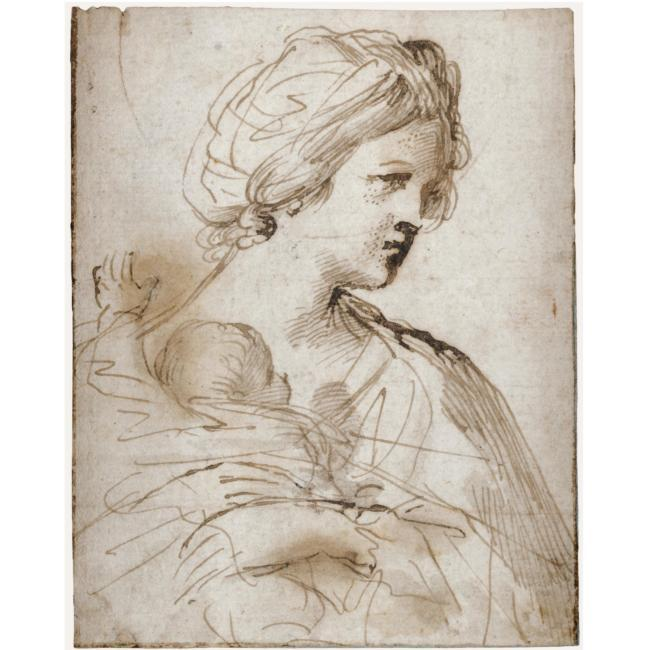 Donna con Bambino, Drawing by Guercino (Barbieri, Giovanni Francesco) (1591-1666, Italy)