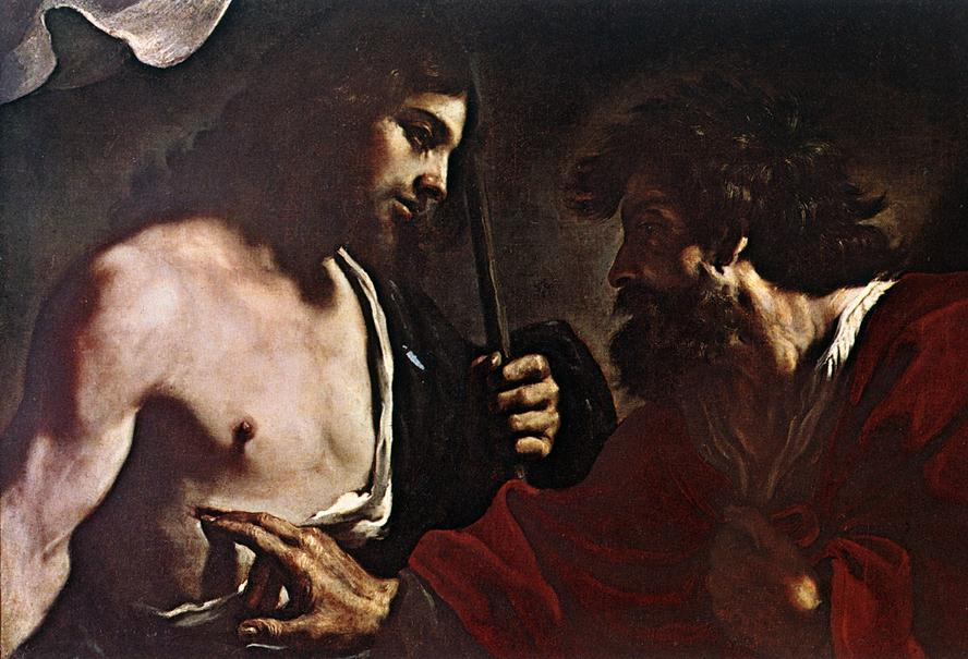 Doubting Thomas, Oil by Guercino (Barbieri, Giovanni Francesco) (1591-1666, Italy)