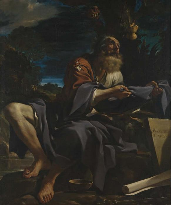 Elijah fed by Ravens, Oil by Guercino (Barbieri, Giovanni Francesco) (1591-1666, Italy)
