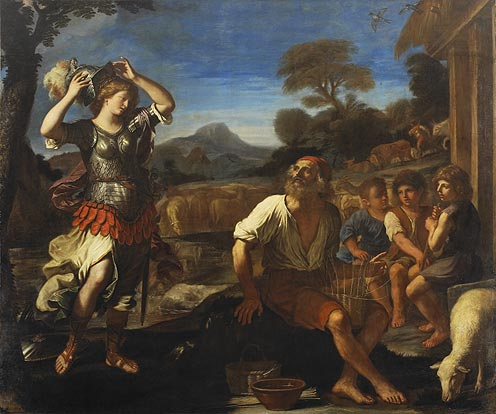 Erminia and the Shepherds, Oil by Guercino (Barbieri, Giovanni Francesco) (1591-1666, Italy)