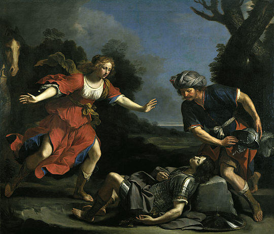 Erminia Finding the Wounded Tancred, Oil by Guercino (Barbieri, Giovanni Francesco) (1591-1666, Italy)