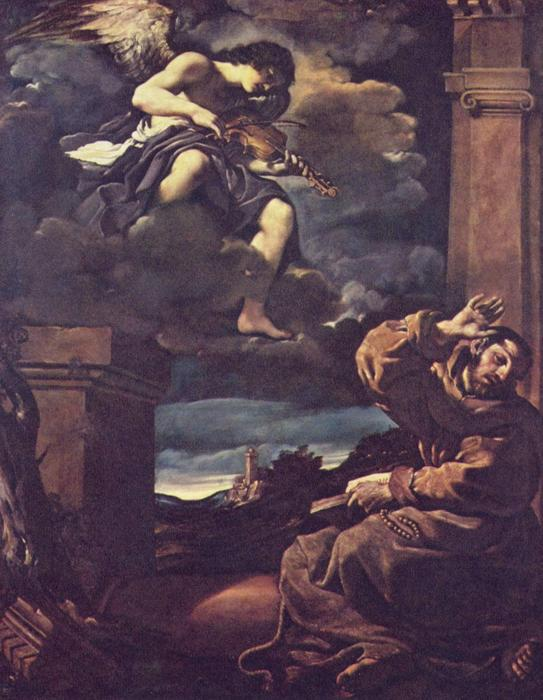 Estasi di San Francesco, Oil by Guercino (Barbieri, Giovanni Francesco) (1591-1666, Italy)