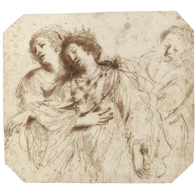 Esther supported by her attendants, Drawing by Guercino (Barbieri, Giovanni Francesco) (1591-1666, Italy)