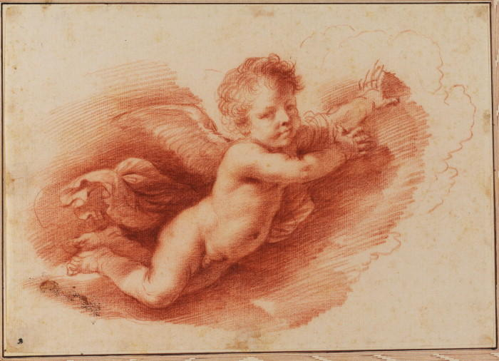 Flying putto, Drawing by Guercino (Barbieri, Giovanni Francesco) (1591-1666, Italy)
