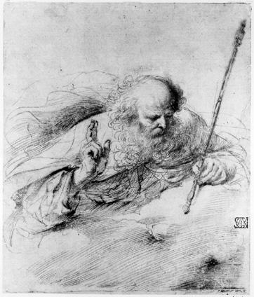 God the Father, Drawing by Guercino (Barbieri, Giovanni Francesco) (1591-1666, Italy)