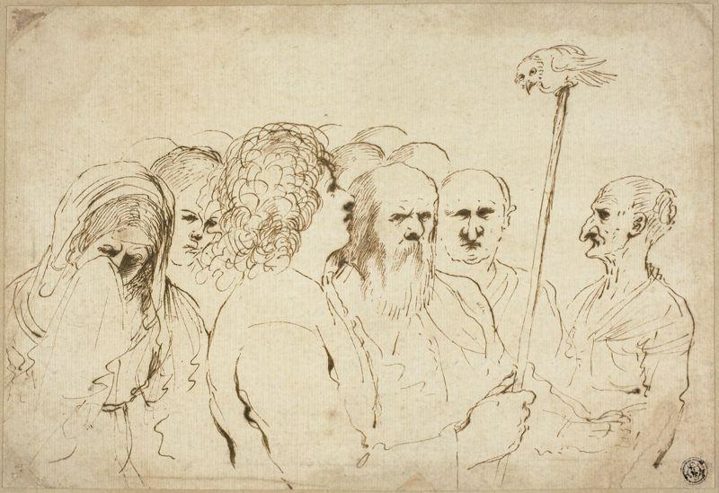 Group of Figures, with Owl on a Pole, Drawing by Guercino (Barbieri, Giovanni Francesco) (1591-1666, Italy)