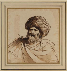 Guercino (Barbieri, Giovanni Francesco) - Head of a bearded man wearing a turban