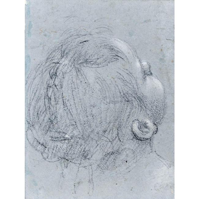 HEAD OF A GIRL, SEEN FROM BEHIND, Drawing by Guercino (Barbieri, Giovanni Francesco) (1591-1666, Italy)