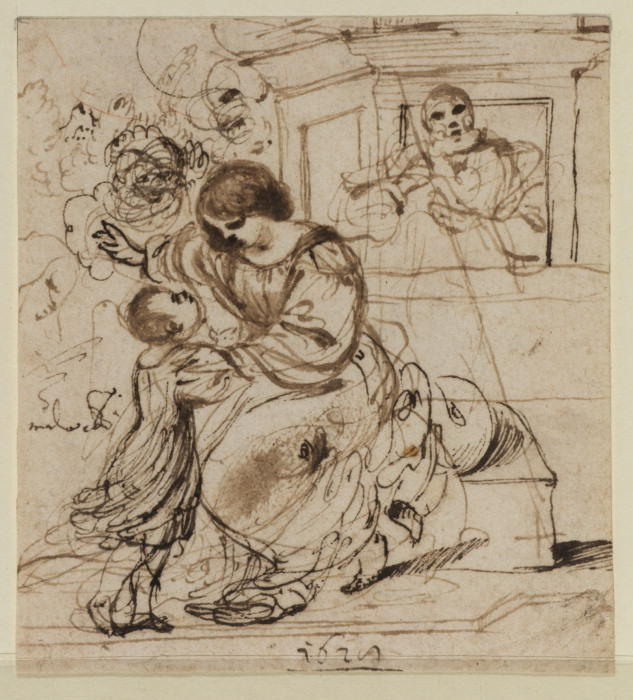 Holy Family in a landscape, Drawing by Guercino (Barbieri, Giovanni Francesco) (1591-1666, Italy)