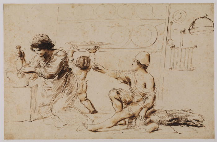 Interior of a kitchen, Drawing by Guercino (Barbieri, Giovanni Francesco) (1591-1666, Italy)
