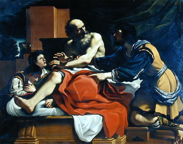 Jacob, Ephraim, and Manasseh, Oil by Guercino (Barbieri, Giovanni Francesco) (1591-1666, Italy)