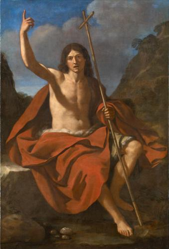 John the Baptizer, Oil by Guercino (Barbieri, Giovanni Francesco) (1591-1666, Italy)