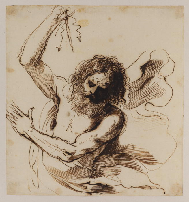 Jove throwing a thunderbolt, Drawing by Guercino (Barbieri, Giovanni Francesco) (1591-1666, Italy)
