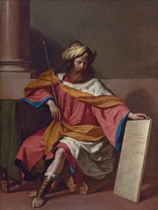 King David, Oil by Guercino (Barbieri, Giovanni Francesco) (1591-1666, Italy)