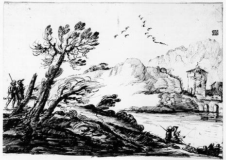 Landscape with a Fisherman, Drawing by Guercino (Barbieri, Giovanni Francesco) (1591-1666, Italy)