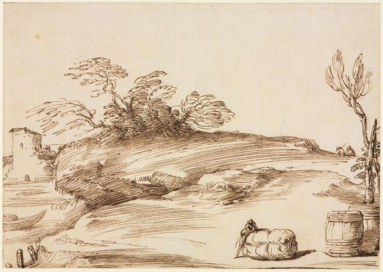 Landscape with a Man Leaning on a Bale, Drawing by Guercino (Barbieri, Giovanni Francesco) (1591-1666, Italy)