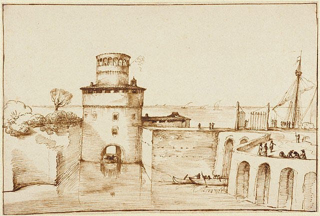 Landscape with a View of a Fortified Port, Drawing by Guercino (Barbieri, Giovanni Francesco) (1591-1666, Italy)
