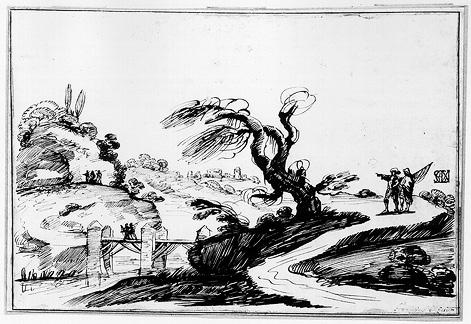 Landscape with Figures and a Bridge 1, Drawing by Guercino (Barbieri, Giovanni Francesco) (1591-1666, Italy)