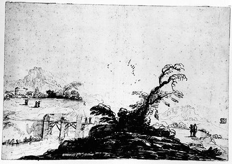 Landscape with Figures and a Bridge, Drawing by Guercino (Barbieri, Giovanni Francesco) (1591-1666, Italy)