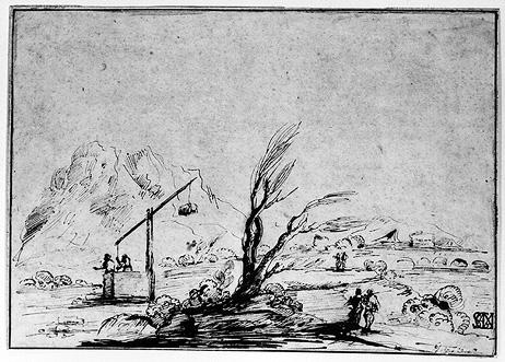 Landscape with Figures and a Wel, Drawing by Guercino (Barbieri, Giovanni Francesco) (1591-1666, Italy)