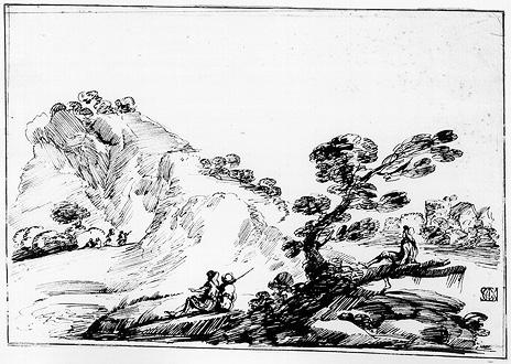 Landscape with Figures and Trees, Drawing by Guercino (Barbieri, Giovanni Francesco) (1591-1666, Italy)