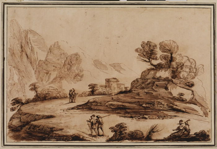Landscape with figures, Drawing by Guercino (Barbieri, Giovanni Francesco) (1591-1666, Italy)